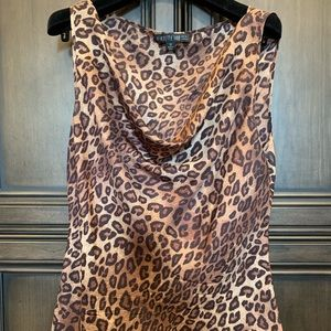 Lafayette 148 silk cheetah sleeveless blouse.